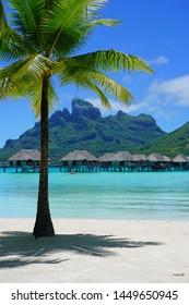 BORA BORA, FRENCH POLYNESIA -7 DEC 2018- View of the Four Seasons Bora Bora luxury resort hotel on the turquoise lagoon in French Polynesia.