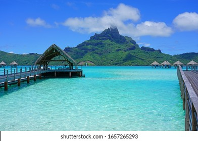 BORA BORA, FRENCH POLYNESIA -7 DEC 2018- View of the Mont Otemanu and the Bora Bora lagoon seen from Le Meridien resort, a luxury beach hotel French Polynesia, South Pacific.