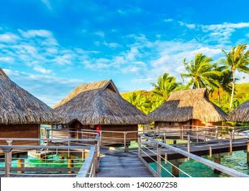 BORA BORA, FRENCH POLYNESIA - SEPTEMBER 19, 2018: View of the bungalow on the sandy beach