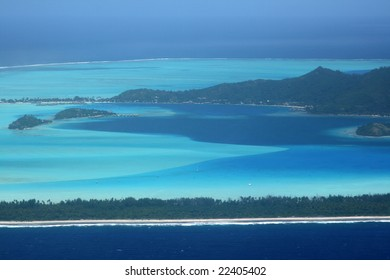 bora bora island south part with resorts