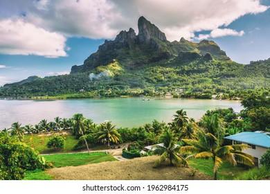 Bora Bora and Mount Otemanu nature landscape in Tahiti, French Polynesia with coral lagoon sea and Mt Pahia, Mt Otemanu, Tahiti, south Pacific Ocean