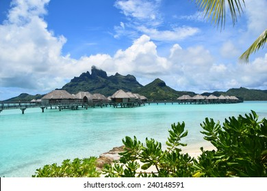 Bora Bora Overwater Bungalow with Mount Otemanu