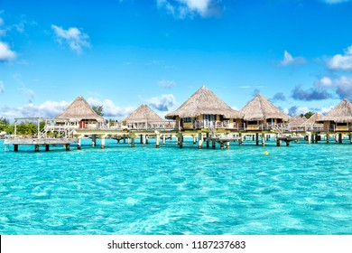 in bora bora polynesia the sea and the resort like paradise concept and relax in the beach