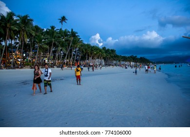 Boracay 18 SEP 2015, Philippines: People at evening on White Beach in Boracay, Philippines