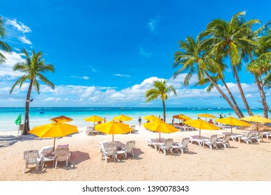 Boracay Island, Aklan Province, Philippines - February 15th 2018: Boracay Island's White Beach and Recreational Facilities Make it one of the World's Top Tourism Destinations for Relexation