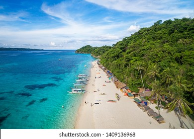 Boracay Island, Philippines, aerial view of Puka Shell Beach on a sunny day.