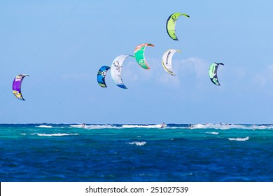 "Boracay island, Philippines - January 28, 2015 : kitesurfers start ""The Boracay internanional funboard cup 28-31 January, 2015"" Kitesurfing race category."