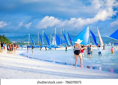 BORACAY ISLAND, PHILIPPINES - November 18, 2017 : Crowded beach of Boracay beach