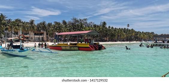 Boracay / Philippines - 04 30 2019: Boracay Beach Pier (Seaport) view from the boat