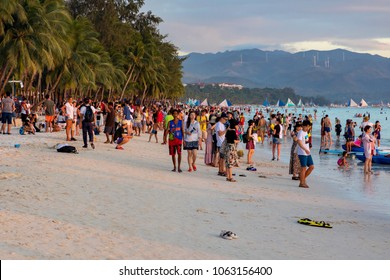 BoracayPhilippinesApril 06, 2018Tourists on White Beach in the evening