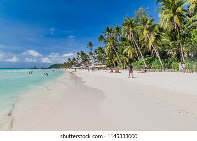 BORACAY, PHILIPPINES - FEBRUARY 1, 2018: View of the White Beach on Boracay island, Philippines
