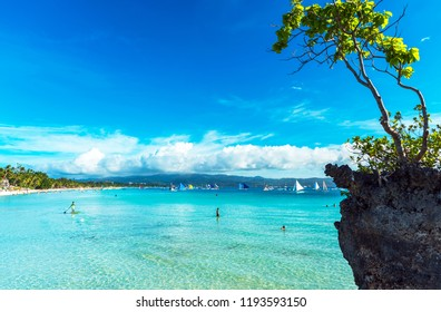 BORACAY, PHILIPPINES - FEBRUARY 28, 2018: Willy's rock on the beach. Copy space for text