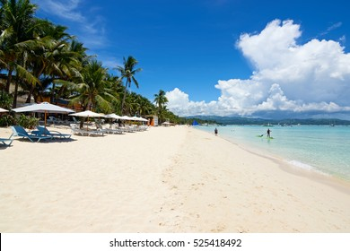 Boracay, Philippines - JULY 29, 2015: The famous White Beach of the Boracay Island, Philippines