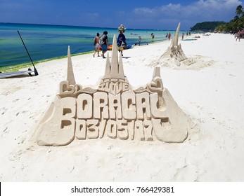 [Boracay Philippines - March 05 3017] Sand castle on White beach Boracay Island philippines