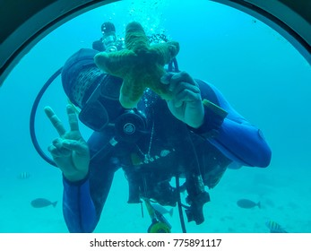 [Boracay Philippines | March 08 2017] Diver in the sea and starfish Boracay Philippines