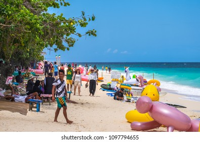 Boracay, Philippines - March 31, 2018:  Sports and other activities at white Puka Beach Boracay Island Philippines. People have fun at the beach.