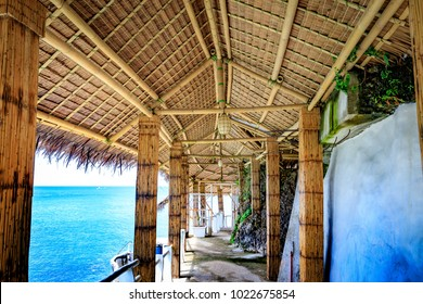 Boracay, Philippines - Nov 18, 2017 : View of West Cove Resort made of bamboo, which is famous landmark in Boracay Island in the Philippine