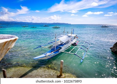 Boracay, Philippines - Nov 18, 2017 : Filipino boat in the Boracay sea