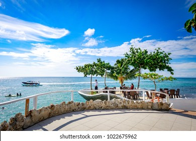Boracay, Philippines - Nov 18, 2017 : West Cove Resort surrounding tropical sea, which is famous landmark in Boracay Island in the Philippine