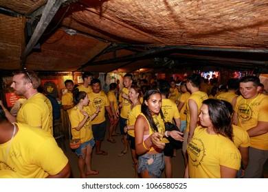 Boracay, Philippines - Nov 18, 2017 : Boracay Pubcrawl, Night party making friend in Boracay