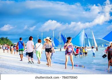 BORACAY, PHILIPPINES - Nov 18, 2017 : Crowded beach of Boracay island