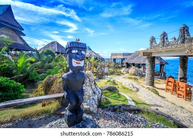 Boracay, Philippines - Nov 19, 2017 : Aboriginal Statue of Crystal Cove, which is a small island that attracts tourists island hopping near Boracay in the Philippines
