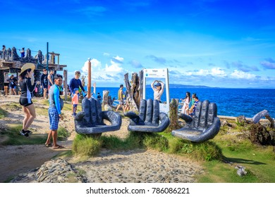 Boracay, Philippines - Nov 19, 2017 : Tourist taking photo at Crystal Cove, which is a small island that attracts tourists island hopping near Boracay in the Philippines