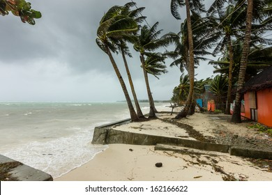 BORACAY, PHILIPPINES - NOVEMBER 8 2013: Super Typhoon Haiyan batters the eastern facing shores of the central Philippines.  Haiyan is one of the biggest storms ever recorded to hit land.