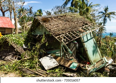 BORACAY, PHILIPPINES - NOVEMBER 9 2013: A wooden shack is completely destroyed by the passage of Super Typhoon Haiyan in the Philippines