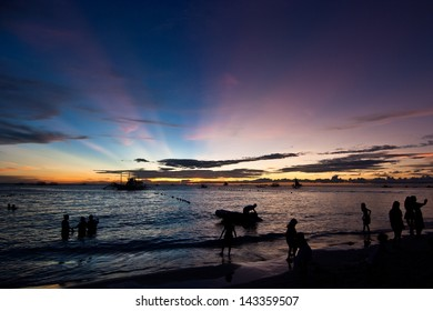 Boracay sunset with clouds