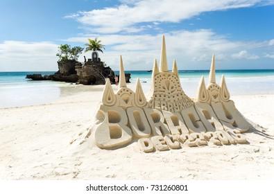 Boracay,Philippines - Dec 22,2016: A Sandcastle on white beach of Boracay