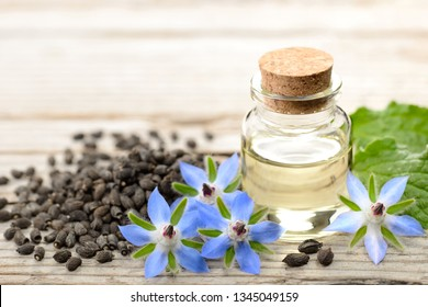 borage oil in the glass bottle, with seeds and flowers