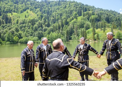 Borcka,Artvin/Turkey - 19/06/2014 : Lokal folk dance team by the Karagol Lakeside