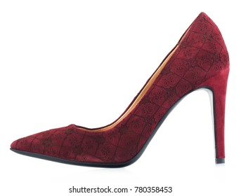 Bordea suede female shoes with heels isolated on a white background