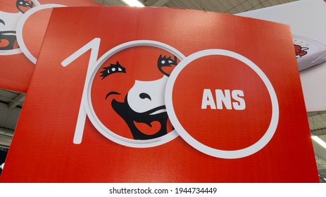 Bordeaux , Aquitaine France - 03 25 2021 : vache qui rit logo and sign brand birthday in supermarket advertising for 100th anniversary laughing cow in french