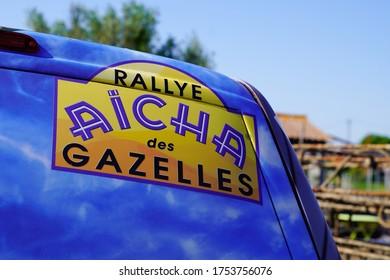 Bordeaux , Aquitaine / France - 06 01 2020 : Rallye Aicha des Gazelles logo sign in sporty car ready to race in african desert