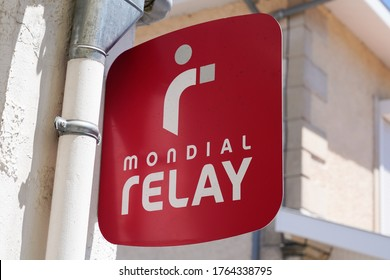 Bordeaux , Aquitaine / France - 06 20 2020 : Mondial Relay delivery red sign logo on wall store