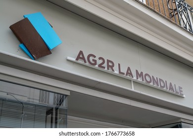 Bordeaux , Aquitaine / France - 06 20 2020 : AG2R La Mondiale logo sign Insurance company of French financial services office
