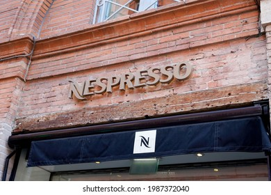 Bordeaux , Aquitaine France - 06 06 2021 : Nespresso brand logo and text sign of shop specialised in coffee machines capsules and coffee accessories store