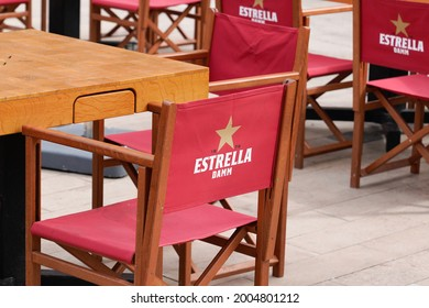 Bordeaux , Aquitaine France  - 07 04 2021 : Estrella Galicia logo brand and text sign on seat restaurant bar pub of brewery based in La Curuna in Spain
