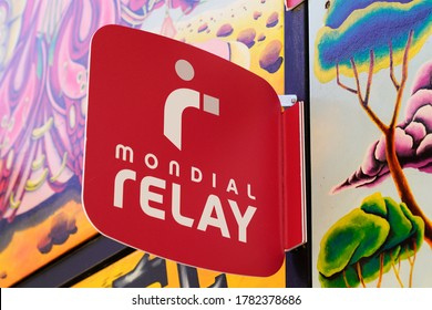 Bordeaux , Aquitaine / France - 07 21 2020 : Mondial Relay sign and text logo store shop delivery