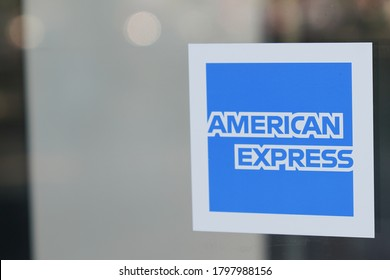 Bordeaux , Aquitaine / France - 08 10 2020 : american express logo and sign on windows shop of Amex US financial service company pay cards