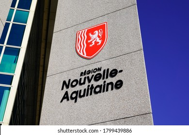 Bordeaux , Aquitaine / France - 08 16 2020 : Nouvelle aqutaine sign and text logo with graphic charter image from new region