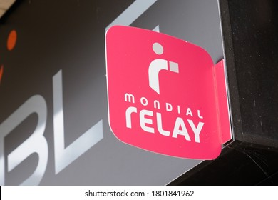 Bordeaux , Aquitaine / France - 08 16 2020 : Mondial Relay sign and text logo store front of shop delivery parcel post