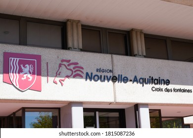 Bordeaux , Aquitaine / France - 09 01 2020 : Nouvelle aqutaine sign and text logo with lion graphic charter image from new region