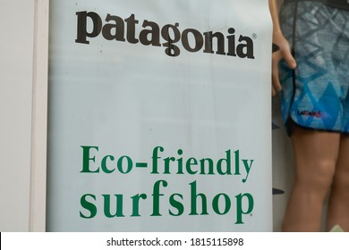 Bordeaux , Aquitaine / France - 09 01 2020 : Patagonia store logo above the entrance to shop with text eco-friendly surfshop