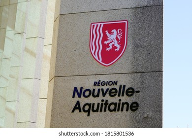 Bordeaux , Aquitaine / France - 09 01 2020 : Nouvelle aqutaine sign text and logo with graphic lion emblem image from new region in france