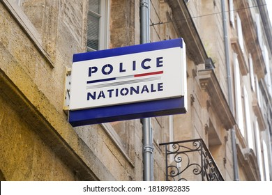 Bordeaux , Aquitaine / France - 09 15 2020 : police nationale sign text and logo of office French national police in town France