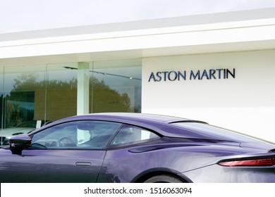 Bordeaux , Aquitaine / France - 09 24 2019 : Aston Martin car sign on an elegant facade with copy space