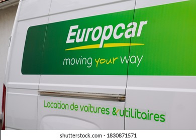Bordeaux , Aquitaine / France - 10 01 2020 : europcar logo and sign rent car lon side truck panel van of rental french vehicles